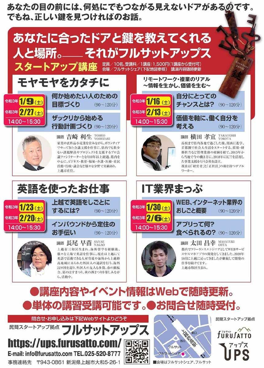 スタートアップ(起業・創業)セミナー(新潟県上越市の起業・スタートアップ拠点 フルサット アップス)